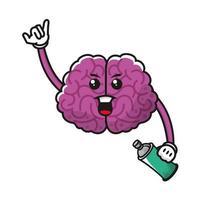 Gehirn mit Sprühfarbe Flasche Comicfigur vektor