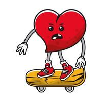 Herz auf Skateboard-Comicfigur vektor