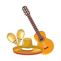 traditioneller mexikanischer Hut mit Gitarre und Maracas vektor