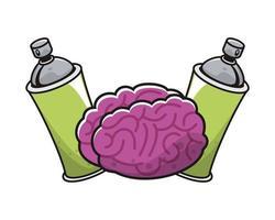 Gehirnorgan mit Sprühfarbenflaschen vektor