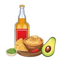Tequila-Flasche und mexikanisches Essen