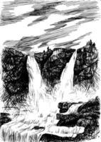 Vektor Berglandschaft mit Wasserfall durch Schlüpfen