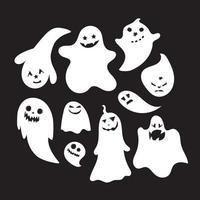 uppsättning halloween känslomässiga spöken vektor