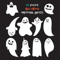 Satz von Halloween emotionalen Geistern vektor