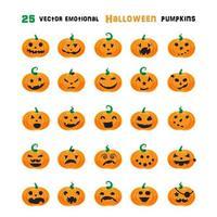 Halloween känslomässiga pumpor set vektor