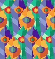nahtloses Muster mit handgezeichneten flachen bunten Federn