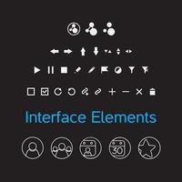 Vektorsatz von Schnittstellenelementen, UI-Kit-Symbolen