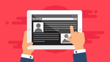 Webvorlage der Tablet-Site oder des Artikelformulars vektor