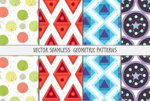 grunge färgglada geometriska sömlösa mönster set