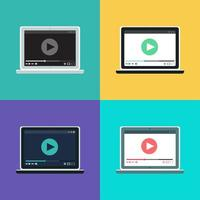 Webvorlage des Notebook-Videoformulars vektor