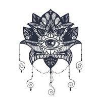 Auge auf Lotus Tattoo vektor