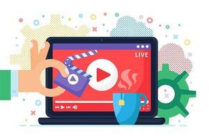 Live-Stream, der Konzeptsymbol produziert vektor