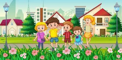 utomhushusplats med många barn