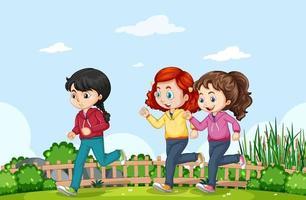 Outdoor-Szene mit vielen Kindern, die im Park joggen