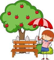 doodle seriefigur en flicka som håller ett paraply med äppelträd vektor