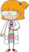 kleiner Wissenschaftler kritzelt Zeichentrickfigur isoliert vektor