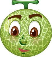 Cantaloupe Melone Zeichentrickfigur mit Gesichtsausdruck