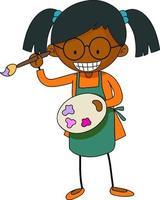 kleiner Künstler, der Farbpaletten-Zeichentrickfigur isoliert hält vektor
