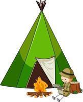 Campingzelt mit Gekritzelkinder-Zeichentrickfigur isoliert