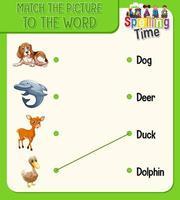 ord till bild matchande kalkylblad för barn
