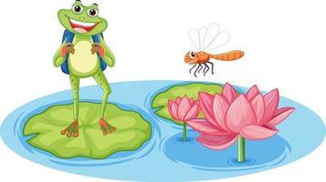 ein Frosch mit Libelle auf Lotusblatt mit rosa Lotus im Wasser vektor