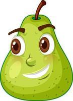 grönt päron seriefigur med glad ansiktsuttryck på vit bakgrund