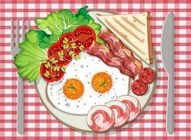 Draufsicht auf das Frühstück in einem Teller