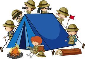 Campingzelt mit vielen Kinderzeichentrickfigur isoliert vektor