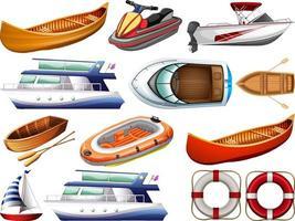 Satz verschiedene Arten von Booten und Schiff lokalisiert auf weißem Hintergrund