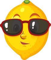 Zitronen-Karikaturfigur, die Sonnenbrille auf weißem Hintergrund trägt vektor