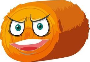 rund tecknad karaktär med höbal med ansiktsuttryck vektor