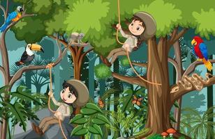 Waldszene mit vielen Kindern, die verschiedene Aktivitäten ausführen