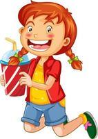glückliche Mädchenkarikaturfigur, die einen Plastikbecher des Getränks hält