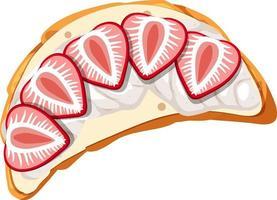 Draufsicht auf ein Brot mit Sahne-Erdbeer-Belag vektor