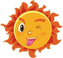 Sonnenkarikaturfigur mit ungezogenem Gesichtsausdruck auf weißem Hintergrund vektor