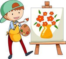 kleiner Künstler, der die Bildzeichentrickfigur isoliert zeichnet vektor