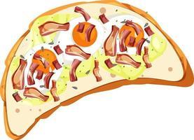 Draufsicht auf ein Brot mit Belag vektor