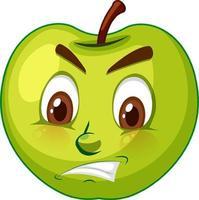 Apfel-Zeichentrickfigur mit Gesichtsausdruck vektor