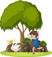 isolerad scen med en pojke som jagar en gås