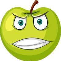 grüne Apfelkarikaturfigur mit wütendem Gesichtsausdruck auf weißem Hintergrund