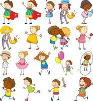 uppsättning olika doodle barn seriefigur vektor