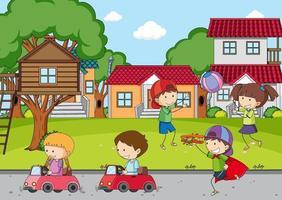 lekplatsplats med många barn vektor
