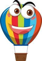Heißluftballon-Zeichentrickfilmfigur mit glücklichem Gesichtsausdruck auf weißem Hintergrund