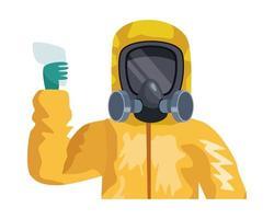 Mann mit Biohazard Anzug Charakter vektor