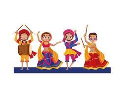 tanzende Diwali Frauen und Männer mit traditionellem Kleidungsvektorentwurf vektor