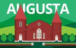 Augusta Wahrzeichen der Stadt. Augusta Georgia Postkarte Illustration.