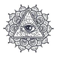 alla ser öga i triangel och mandal vektor