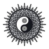Vintage Yin und Yang im Mandala vektor