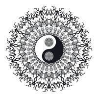 vintage yin och yang i mandala
