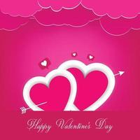 Alla hjärtans dag bakgrund, hjärtan på scenen med rosa moln vektor
